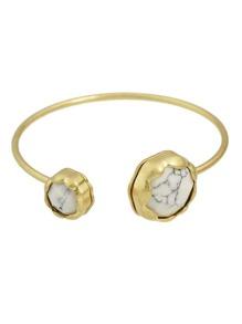 White New Rhinestone Open Cuff Bracelet
