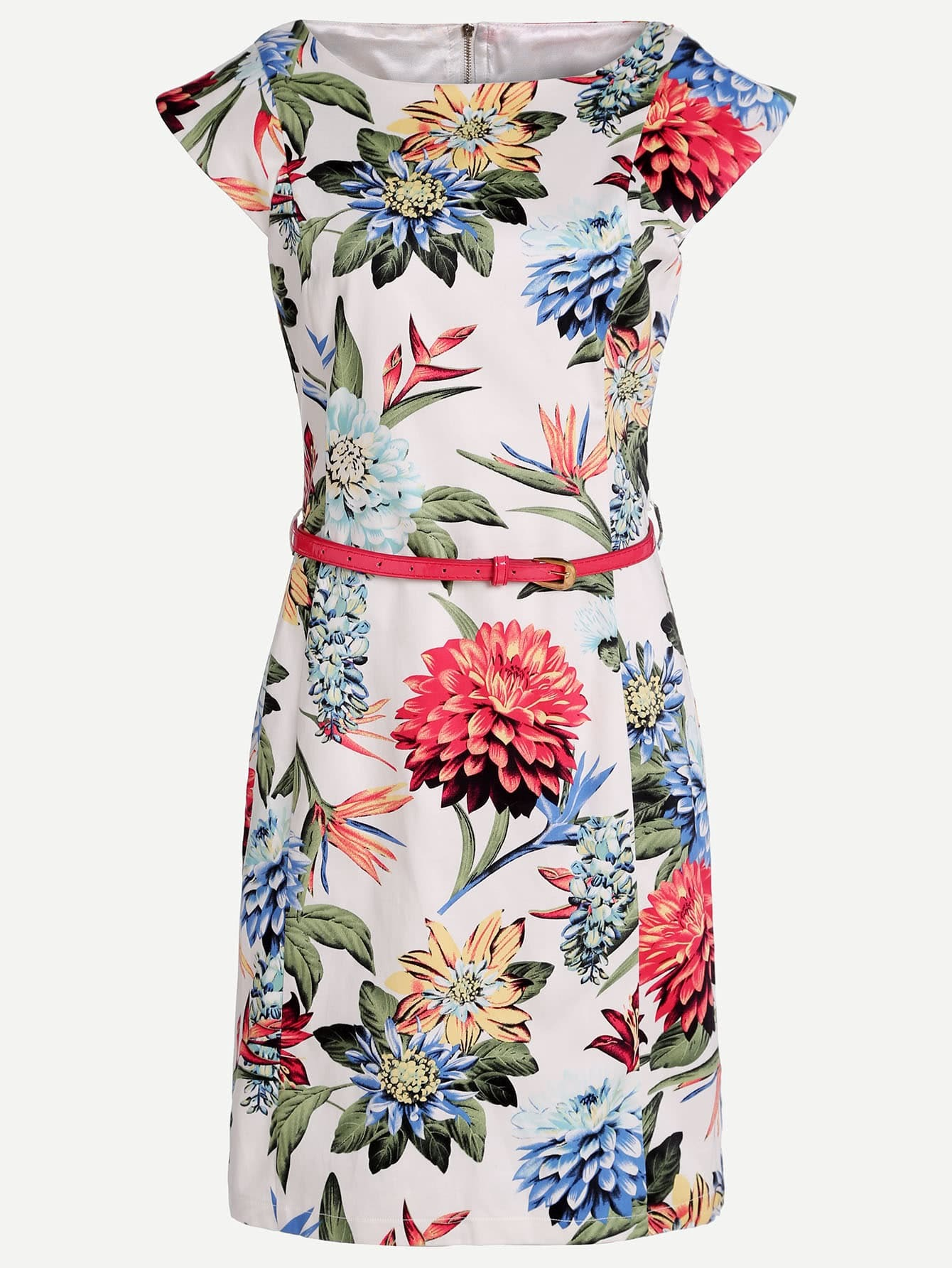Floral Print Sleeveless Dress With BeltFloral Print Sleeveless Dress With Belt<br><br>color: Multicolor<br>size: S