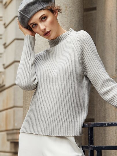 Grey Ribbed Knit Raglan Sleeve Sweater