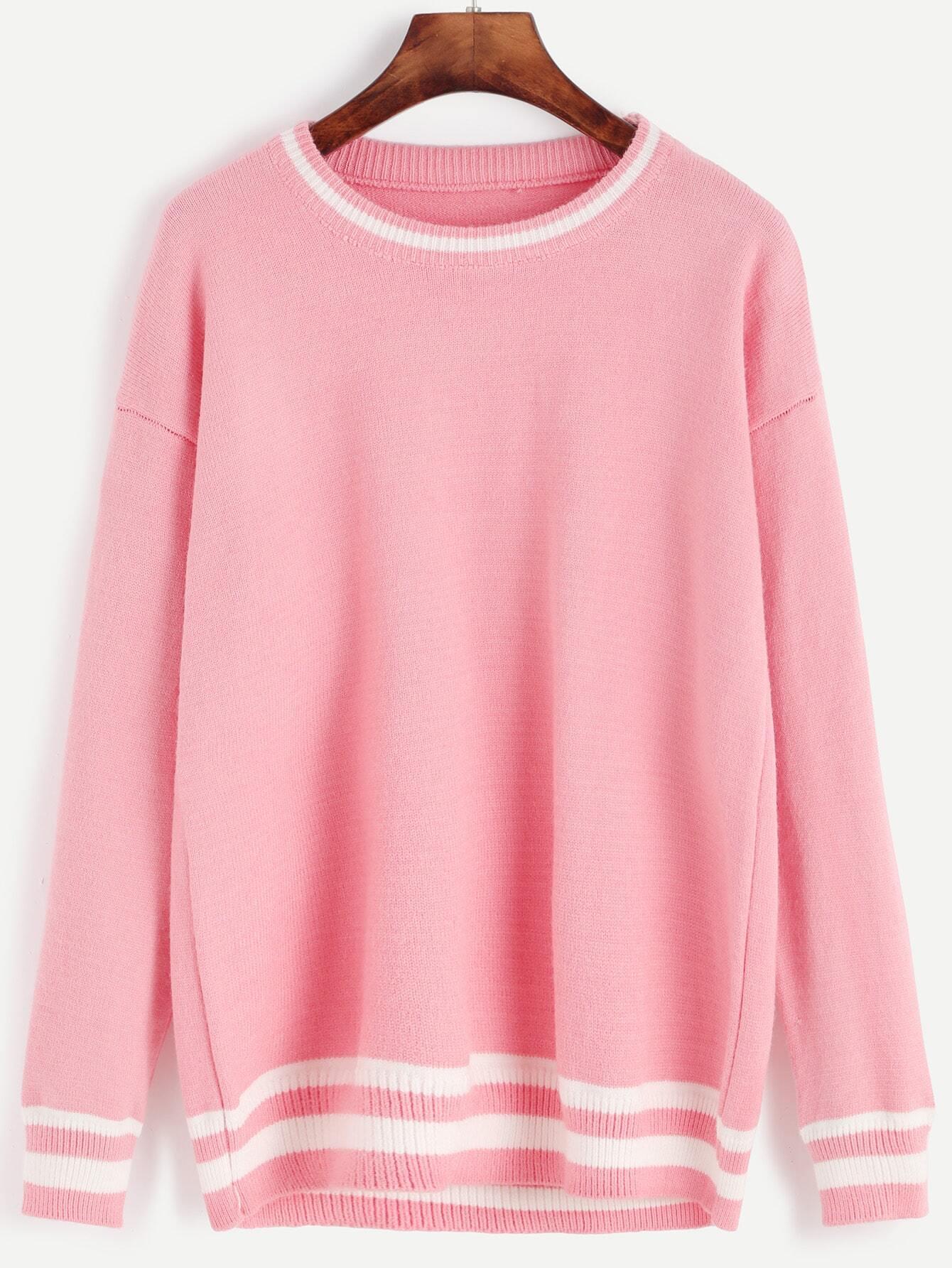 Pink Striped Trim Drop Shoulder Seam Sweater sweater161013131