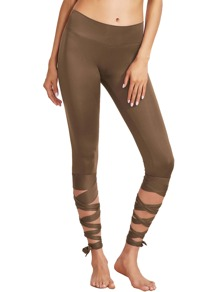 Coffee Wide Waistband Tie Up Leggings