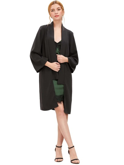 Black Open Front Long Sleeve Outerwear