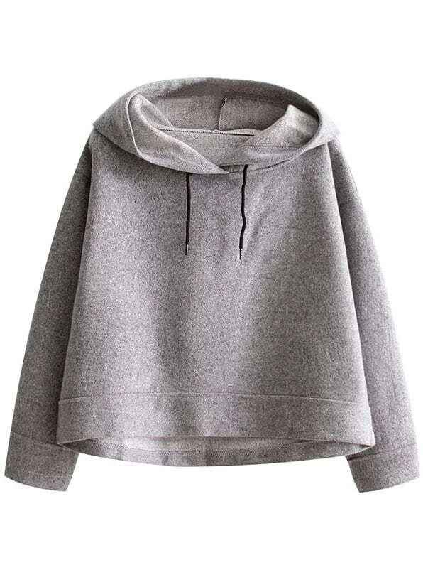 Grey Crop Hooded Loose Sweatshirt sweatshirt161022202