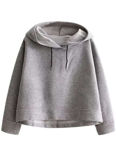 Hooded Loose Dropped Shoulders Crop Sweatshirt