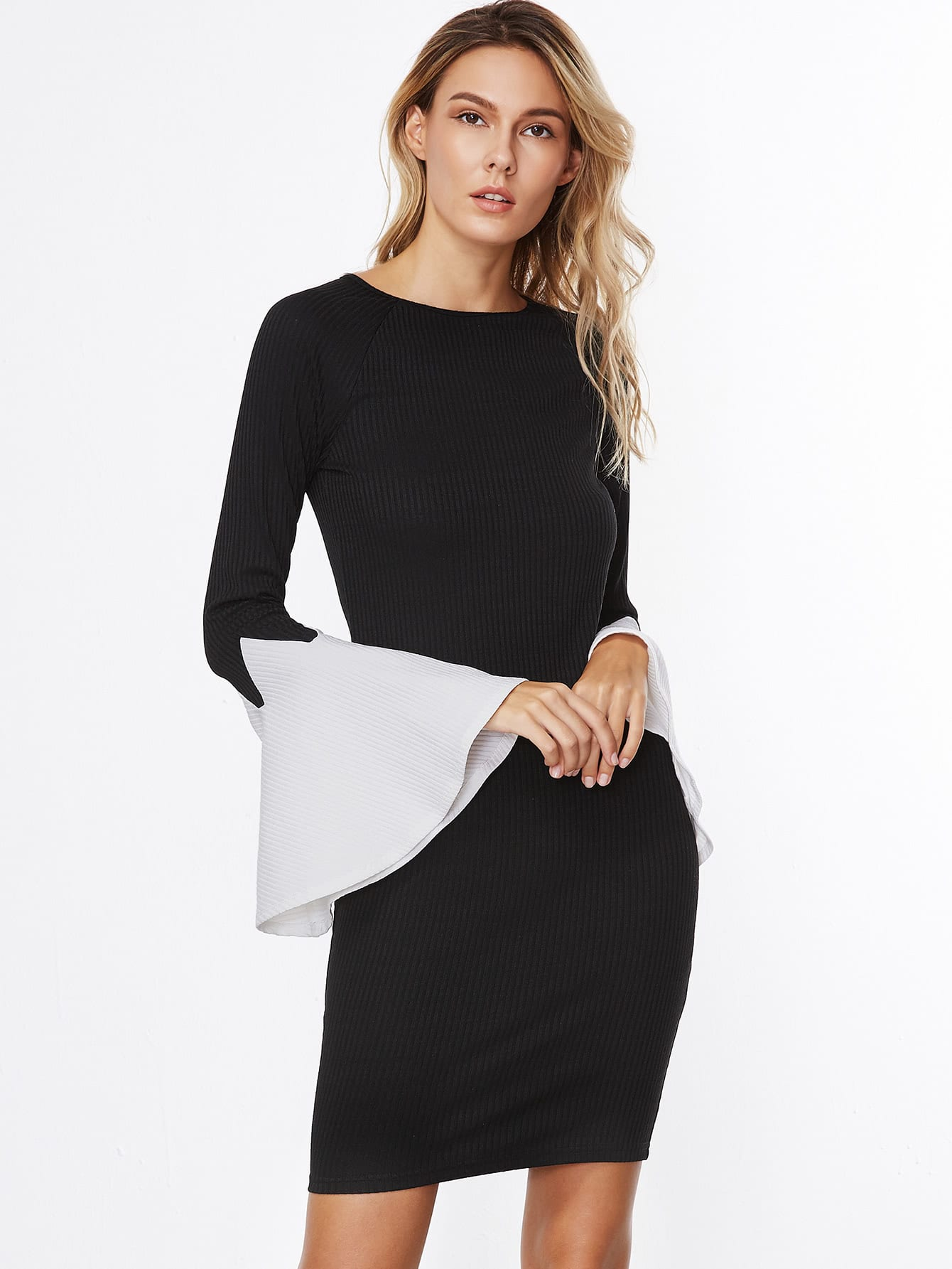 Black Ribbed Knit Contrast Bell Sleeve Bodycon Dress dress161028704
