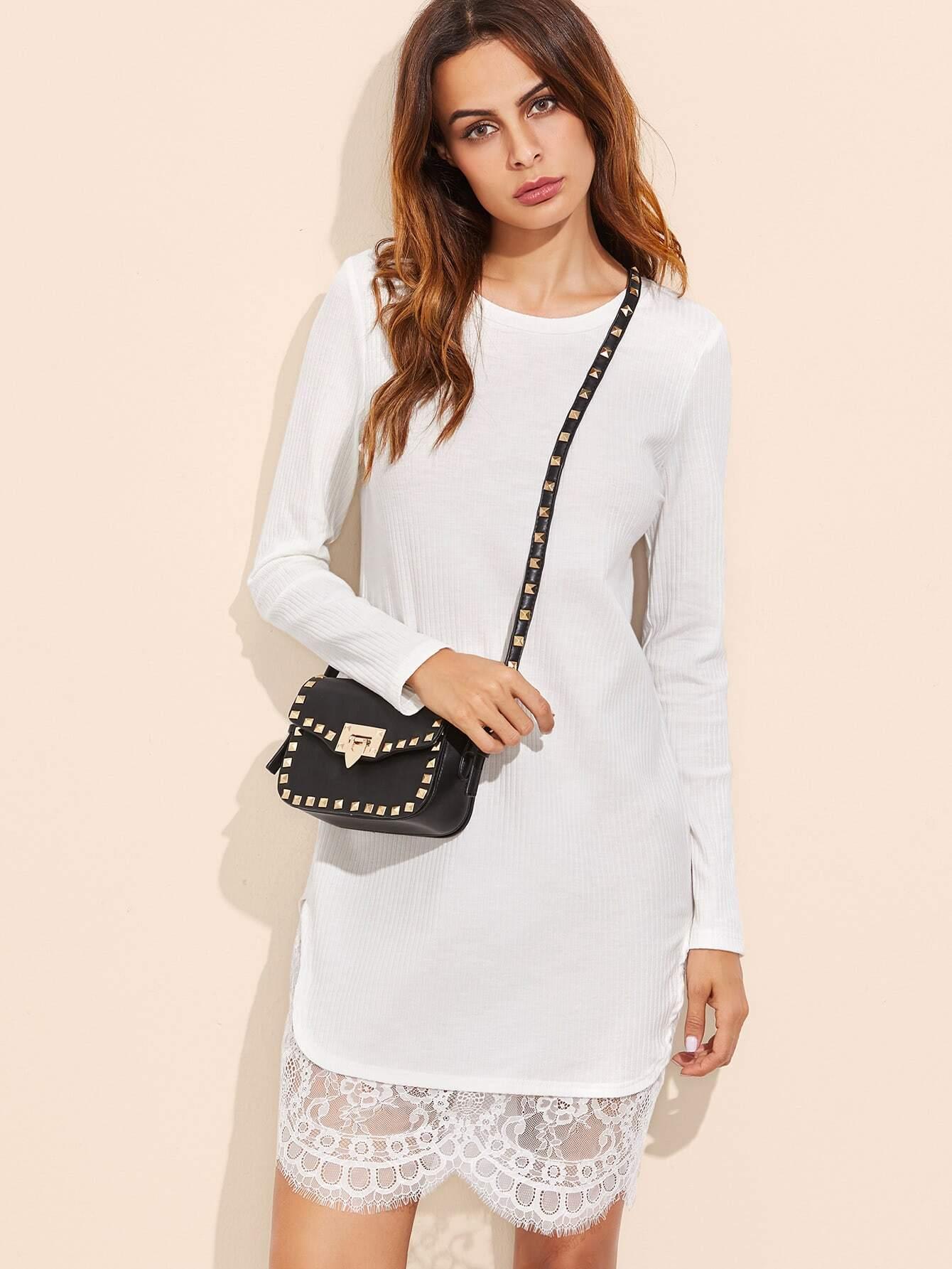 White Ribbed Knit Floral Lace Trim Dress dress161028706