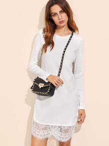 White Ribbed Knit Floral Lace Trim Dress