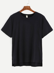 Black Dip Hem Casual T-shirt