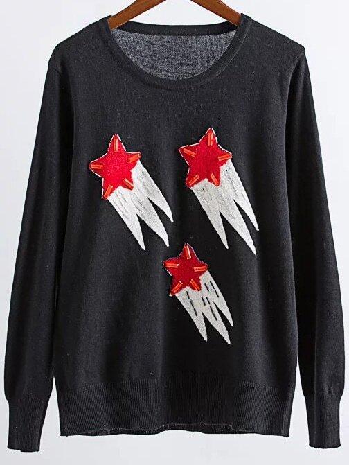 Black Star Pattern Round Neck Ribbed Trim Sweater sweater161011211
