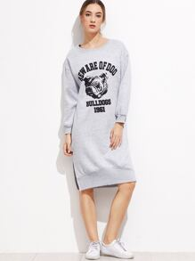 Grey Printed Split Side Sweatshirt Dress