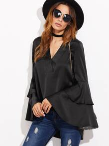 Black Oversized Bell Sleeve High Low Silky Top