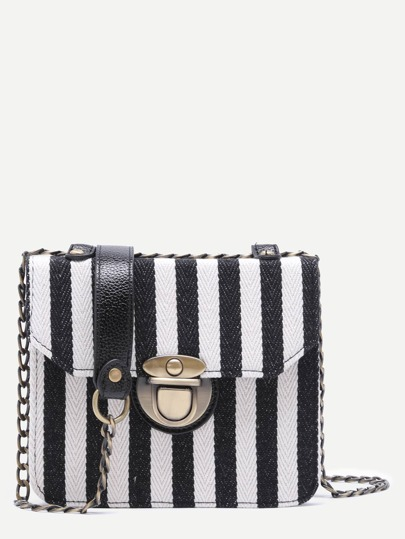Black and White Mini Canvas Flap Chain Bag