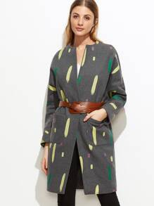 Grey Paint Stroke Print Hidden Button Coat With Pockets