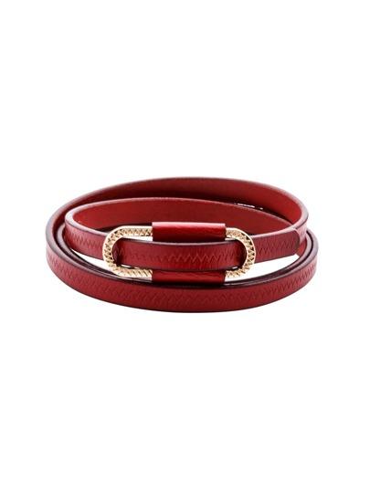 Burgundy Metal Buckle Skinny Belt