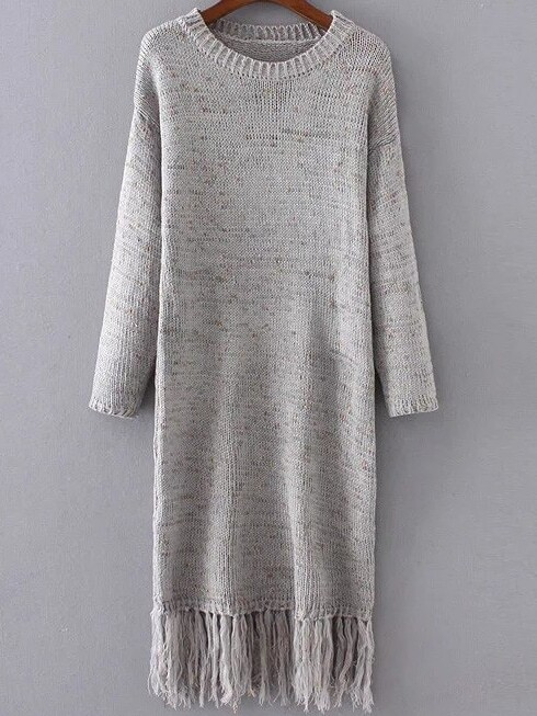 Grey Drop Shoulder Fringe Hem Knit Dress