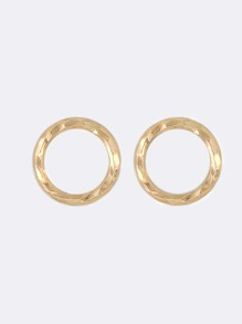 Textured Metallic Hoop Earrings GOLD