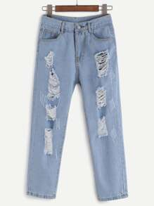 Destroyed Skinny Ankle Jeans