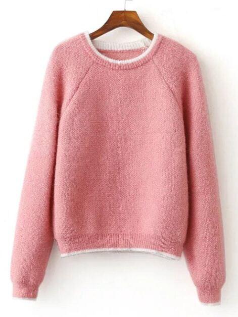 Pink Contrast Trim Raglan Sleeve Mohair Sweater sweater161015202