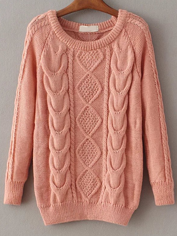 Pink Cable Knit Raglan Sleeve Sweater sweater161020218