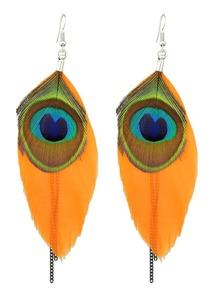 Orange Ethnic Style Peacock Chain Earrings