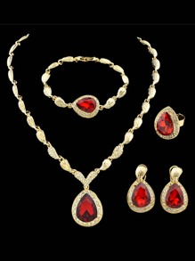 Rosegold Color Red Rhinestone Wedding Jewelry Set