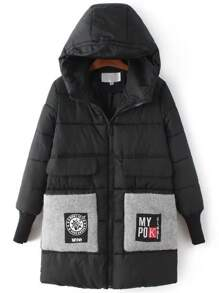 Black Hooded Padded Coat With Patch Pocket