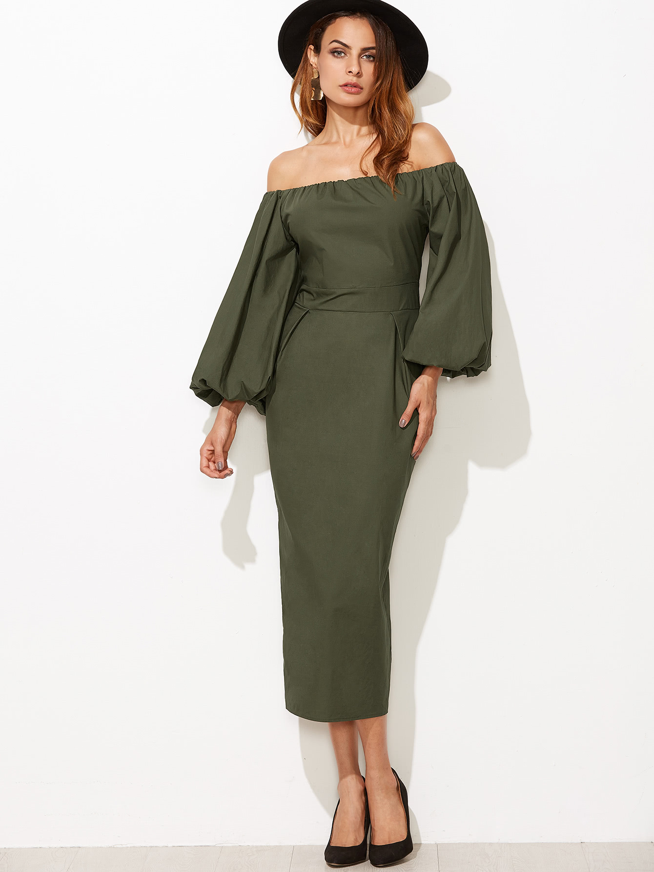 Off Shoulder Lantern Sleeve Slit Back Pencil Dress slit back pencil skirt with strap