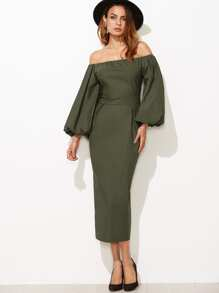 Olive Green Off The Shoulder Lantern Sleeve Slit Back Pencil Dress