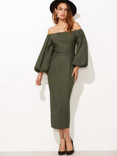 Off Shoulder Lantern Sleeve Slit Back Pencil Dress