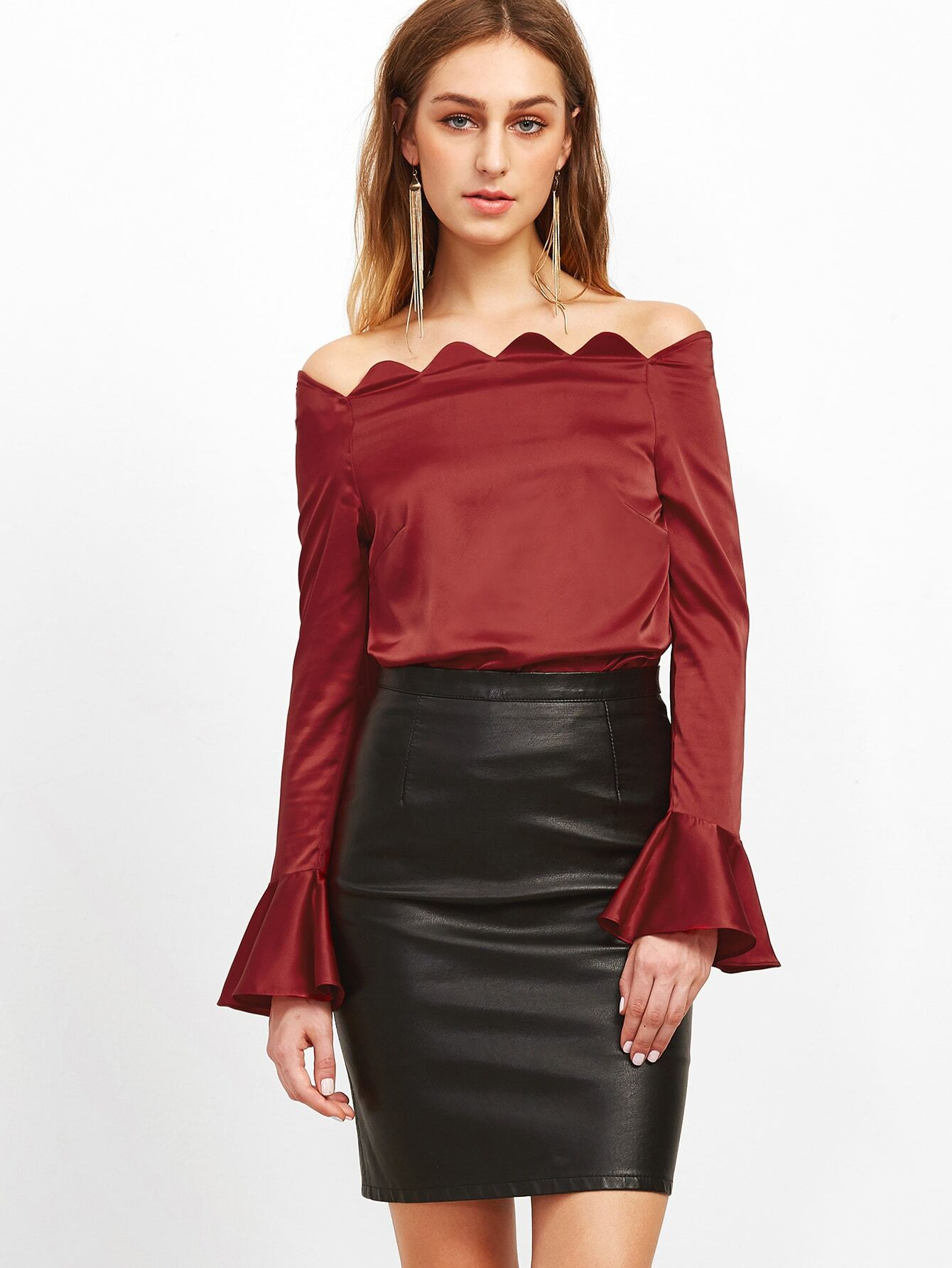 Burgundy Scallop Off The Shoulder Bell Cuff Silky Top blouse161010702