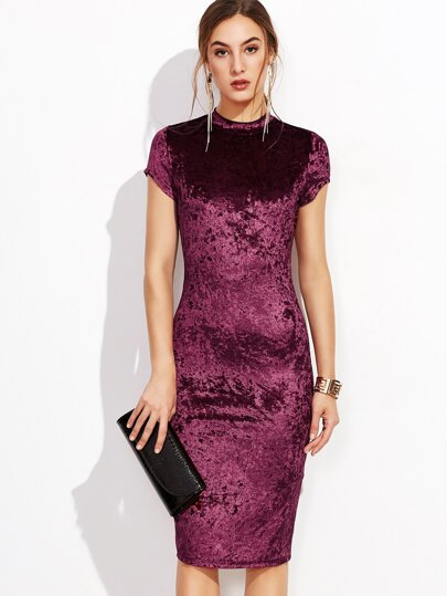 Mock Neck Crushed Velvet Pencil Dress