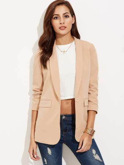 Nude Shawl Collar 3/4 Sleeve Fitted Blazer