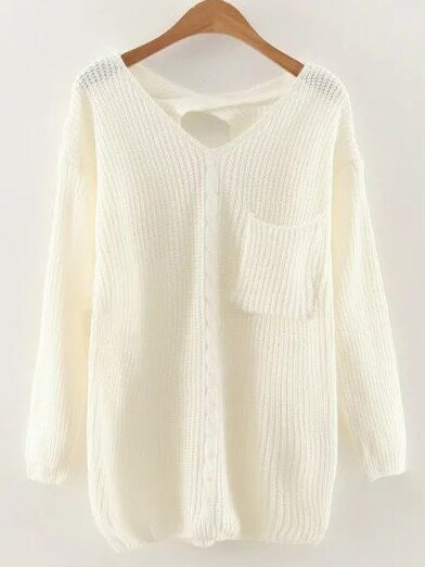 White V Neck Criss Cross Back Cable Knit Sweater sweater161015205