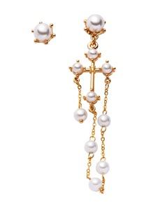 Gold Plated Faux Pearl Asymmetrical Earrings