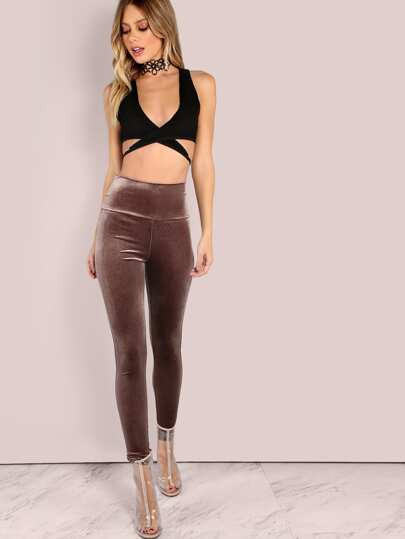 Leggings de velours -moka