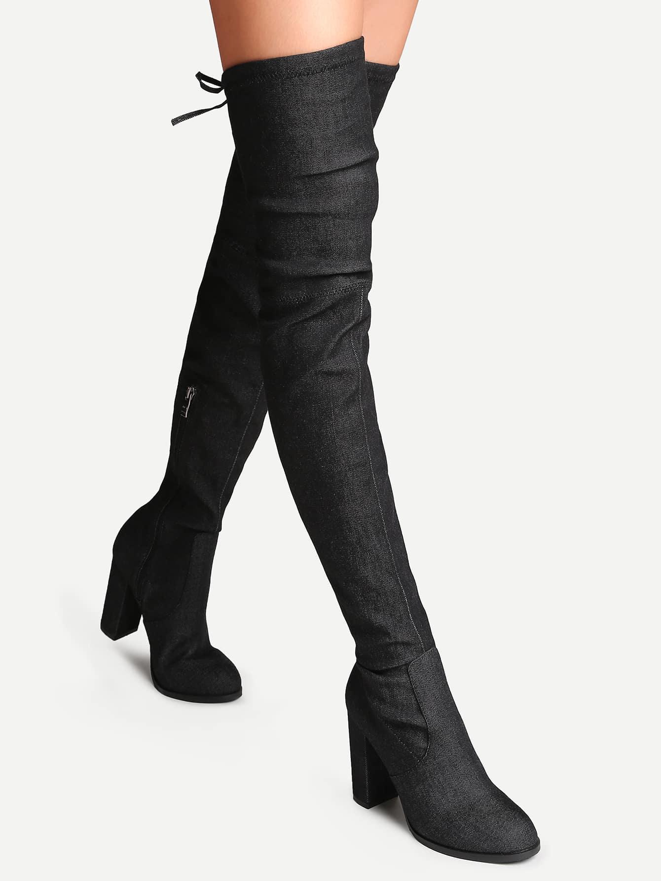 ber den knie stiefel mit schleifen hinten denim spitze zehe schwarz german shein sheinside. Black Bedroom Furniture Sets. Home Design Ideas