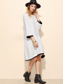 White Contrast Edge Drop Waist Textured Dress