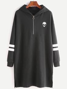 Black Zip Front Striped Sleeve Hooded Sweatshirt Dress