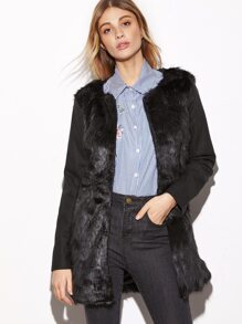 Black Contrast Sleeve Faux Fur Coat