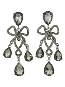 Black Elegant Rhinestone Wedding Chandelier Earrings