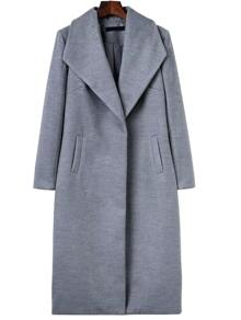 Grey Shawl Collar Longline Coat