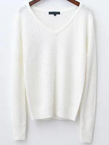 White V Neck Ribbed Trim Knitwear sweater161031219