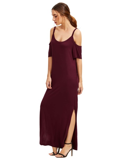 Burgundy Pocket Cold Shoulder Split Maxi Dress