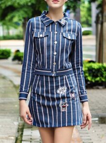 Blue Lapel Striped Top With Embroidered Skirt