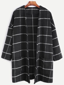 Grid Open Front Dropped Shoulder Coat