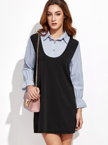 Polka Dot 2 in 1 Contrast Shirt Dress