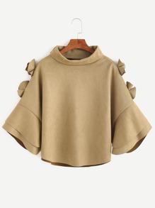 Turtleneck Appliques Suede Poncho Coat
