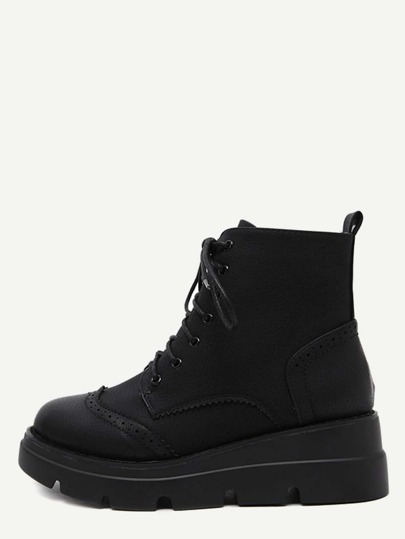 Black PU Wingtip Lace Up Wedge Short Boots