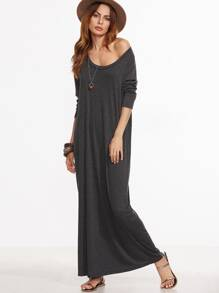 Heather Grey Scoop Neck Maxi Dress