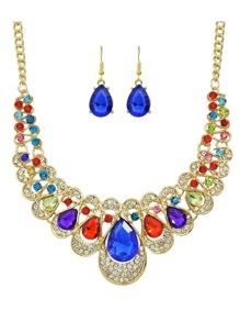 Colorful New Coming Rhinestone Statement Jewelry Set